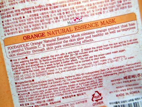 Foodaholic 3D Orange Natural Essence Mask Review