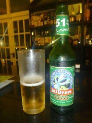 My first Gambian beer - a JulBrew down the Sugar Cane Bar