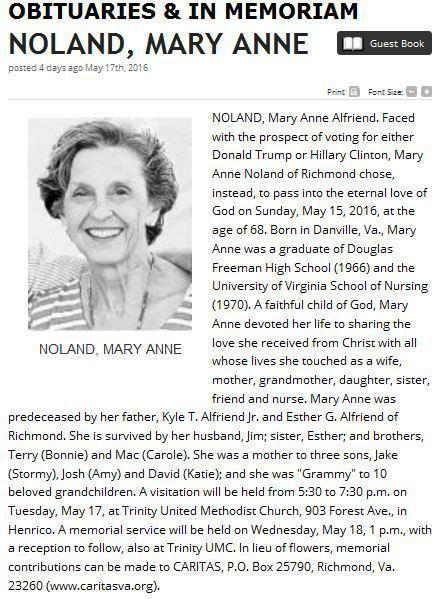 Mary Anne Noland obit