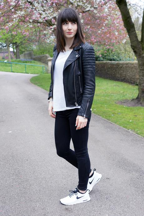 Hello Freckles Monochrome Outfit All Saints Leather Jacket Nike Air Max Thea