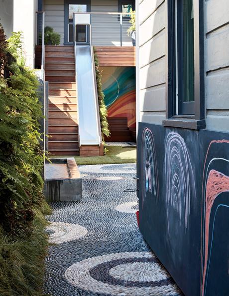 A backyard features a chalkboard paint wall