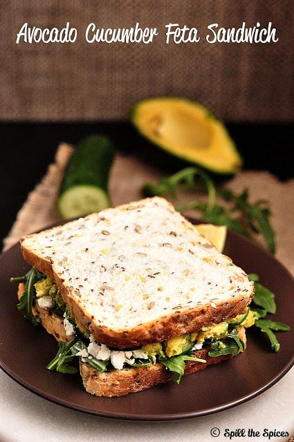Avocado Cucumber Feta Sandwich