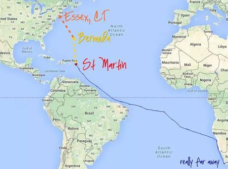 This map is modified from our PredictWind tracking map, which produced the blue route history