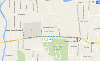 How to get to Indian Embassy Bishkek from Apple Hostel