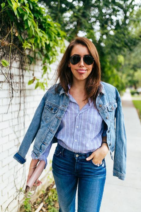 Dallas Blogger, Amy Havins, wears denim on denim.