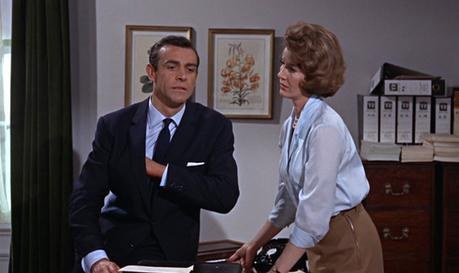 Moneypenny takes Bond to task after M cock-blocks him via intercom.