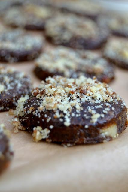 dried banana, dates, walnuts and maple in these healthier take on cookies