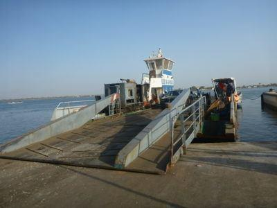 Boarding the ferry at Foundiougne, Senegal