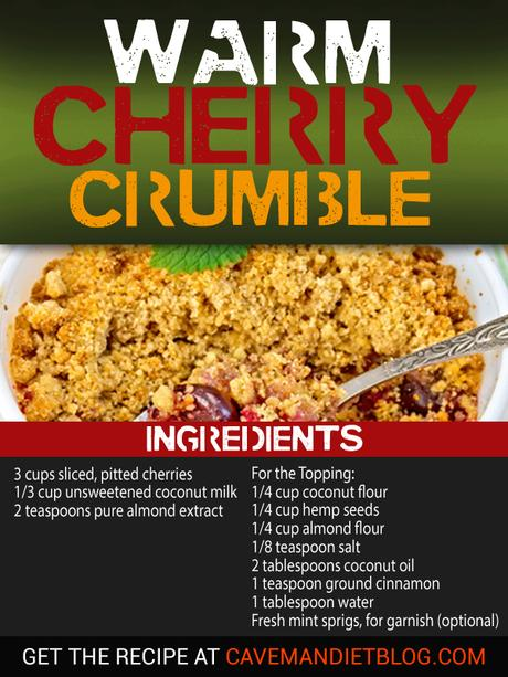 paleo dessert recipes cherry crumble image with ingredients
