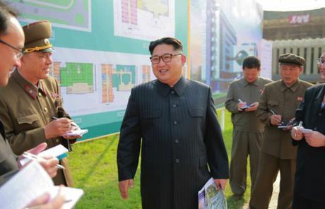 Kim Jong Un visits the construction site of an eye hospital in Pyongyang (Photo: Rodong Sinmun).