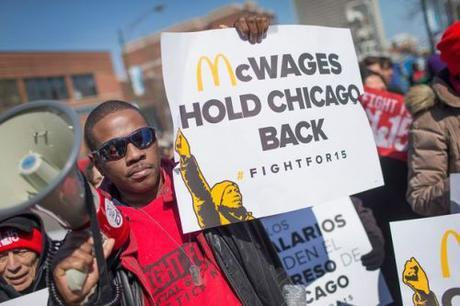 Demonstrators for minimum-wage increase