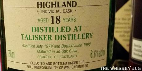 1979 Cadenhead's Talisker 18 Years Label