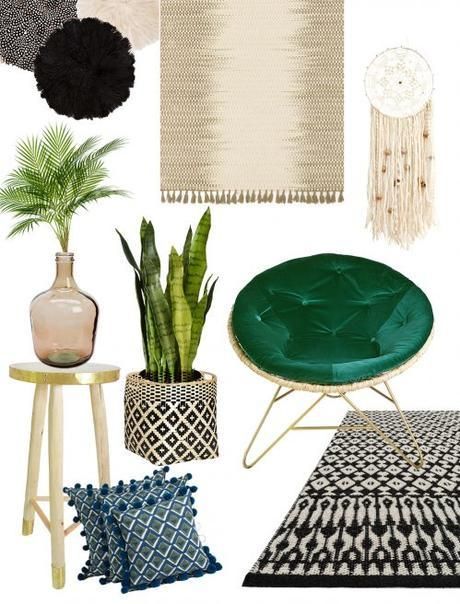 Think emerald green – lots of it in soft velvets and lush house plants with splashes of colour and pattern.