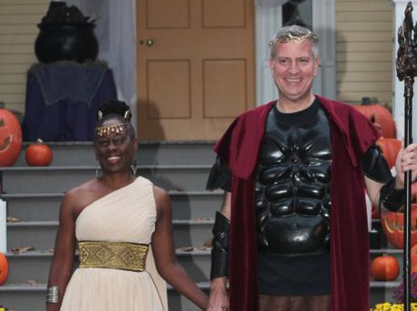 NY Mayor Bill de Blasio and his lesbian wife Chirlane McCray at a Halloween celebration at Gracie Mansion. Photo credit Robert Mecea
