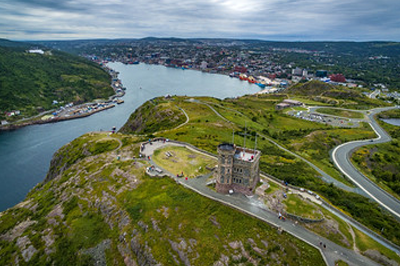 Drone Aerial View of Signal Hill Newfoundland