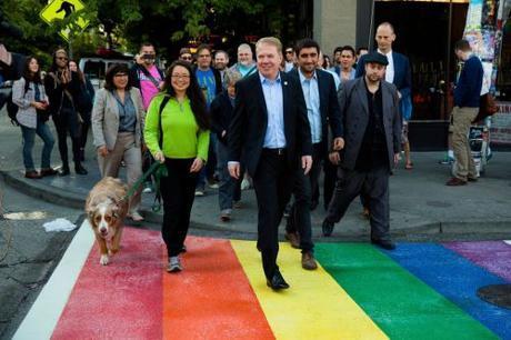 Mayor Ed Murray along one of Seattle's rainbow sidewalks - designed to fight crime!