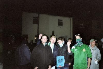 Selling fanzines at the Ukraine match in 2002
