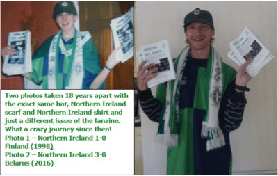 1998 to 2016 - selling Here We Go...Again (same hat, scarf, shirt and fanzine)