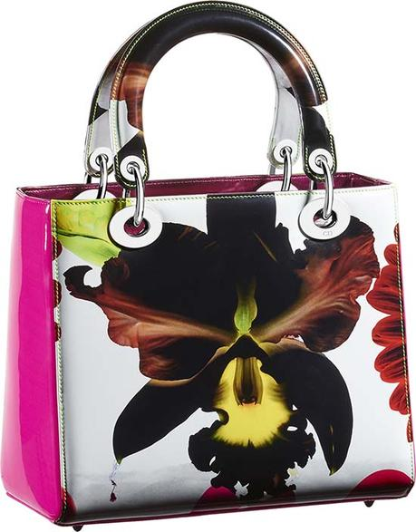 Lady Dior bag in calfskin painted with signature Marc Quinn orchid
