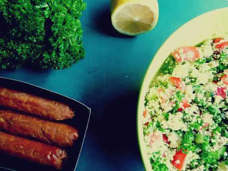 Vegan Merguez with Sprouted Quinoa Tabouli Salad