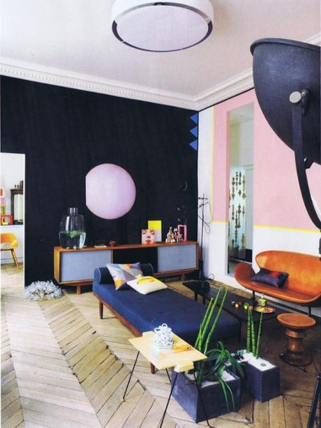 Living Room With Pink Wall and Navy Wall
