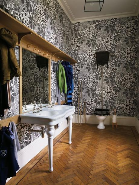 Herringbone Floor In Bathroom WIth Black & White Wallpaper