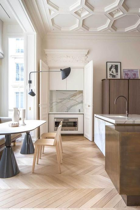 Paris Kitchen With Pale Wood And Marble