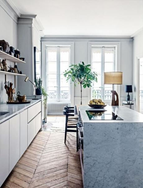 French Home With Grey Kitchen And Open Shelving