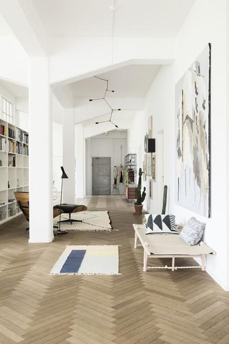 Pale Wood Herringbone Floor In Home of Ferm Living Founder Trine Anderson