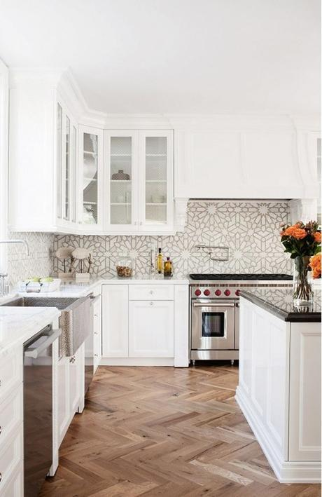 White Kitchen With Moroccan Style Tile Backsplash