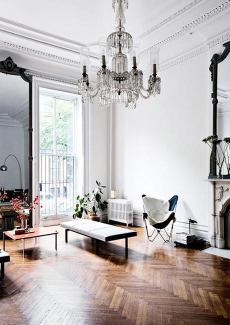 Parisian Style Interior With Herringbone Floors & Crystal Chandelier