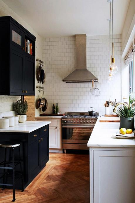Kitchen With Black Cabinetry Wood Flooring In Chevron Pattern