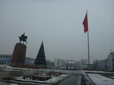 Bishkek's iconic flagpole
