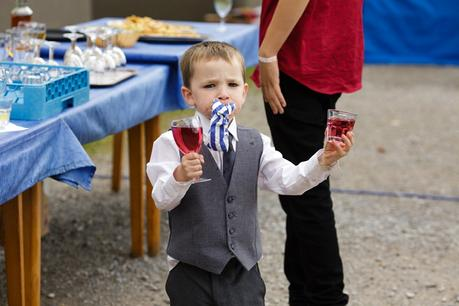 Weddings at Derwentwater Youth Hostel Little boy and glasses of wine