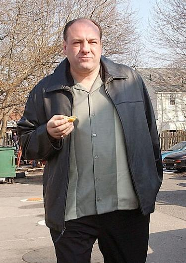 James Gandolfini on set in Bloomfield, NJ as Tony Soprano, filming