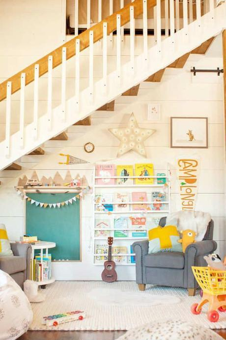 Adorable reading nook under the stairs  | 10 Fun & Friendly Kids Playrooms Part 3 - Tinyme Blog: