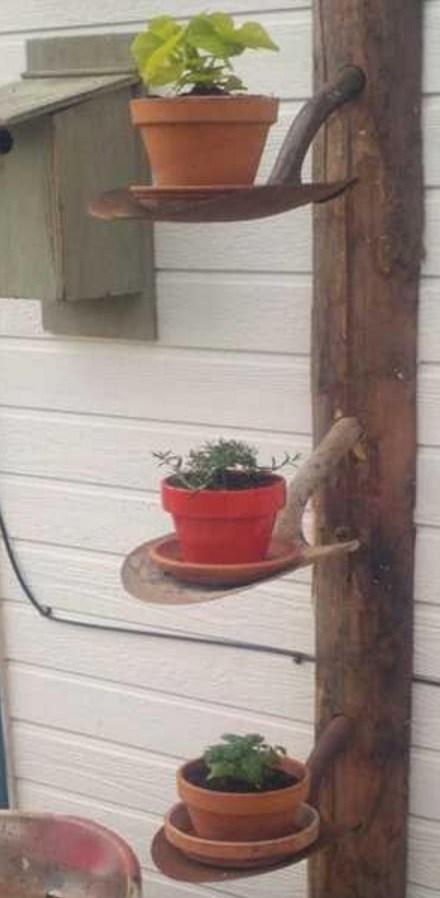 Garden Tools Transformed Into a Plant-Pot Display