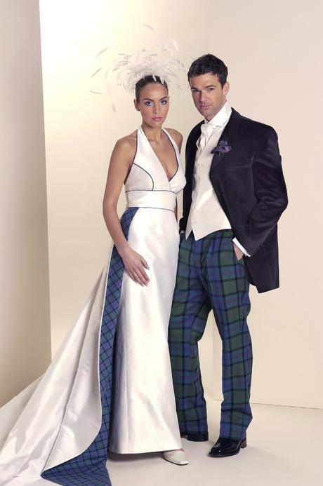 Wedding dress with tartan