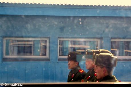 North Korean soldiers pose for a photo