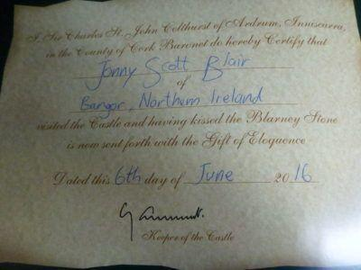 My certificate to say I have kissed the Blarney Stone
