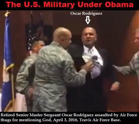 USAF veteran Oscar Rodriguez being dragged from flag-folding ceremony, April 3, 2016.