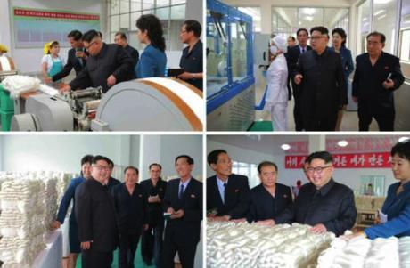 Kim Jong Un is briefed about production and inspects products produced by Kim JOng Suk Textile Mill (Photos: KCNA-Rodong Sinmun).