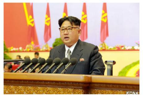 Kim Jong Un speaks during the third day of the 7th Party Congress on May 8, 2016 (Photo: KCNA).