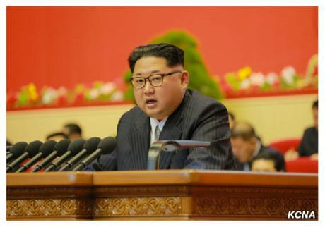Kim Jong Un delivers the report of the WPK Central Committee during the second day of the 7th Party Congress at April 25 House of Culture in Pyongyang on May 7, 2016 (Photo: KCNA).