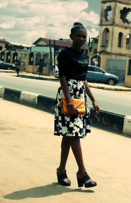 Work Style // Black Floral Skirt