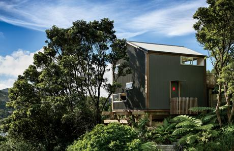 Modern small space in New Zealand with corrugate metal cladding facade