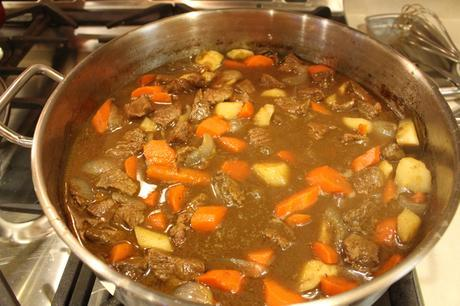 Guinness Irish Beef Stew on stovetop finished