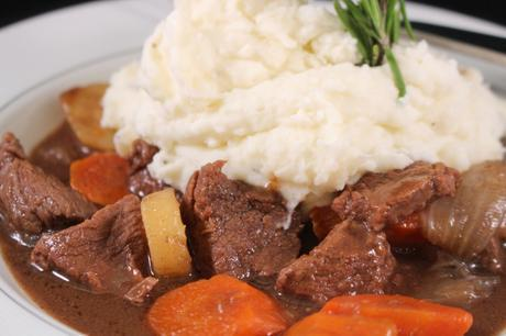 Guinness Irish Beef Stew in a bowl close up