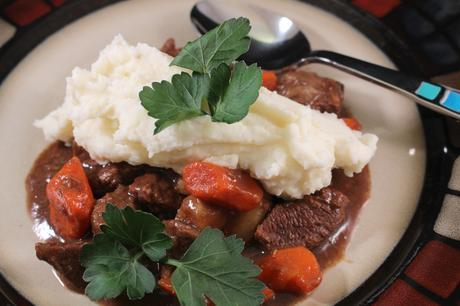 Guinness Irish Beef Stew plated top view