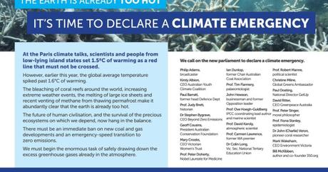 Scientists, business leaders and prominent Australians call for emergency climate action